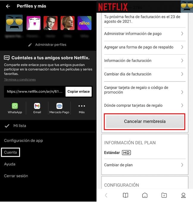 cancelar membresia de netflix desde la app