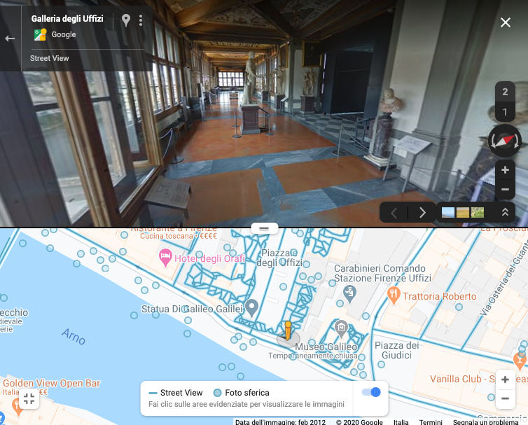 como visitar museo online ejemplo Galleria Uffizi Street View